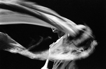 Motion Blur of Female Flamenco Dancer, Black and White
